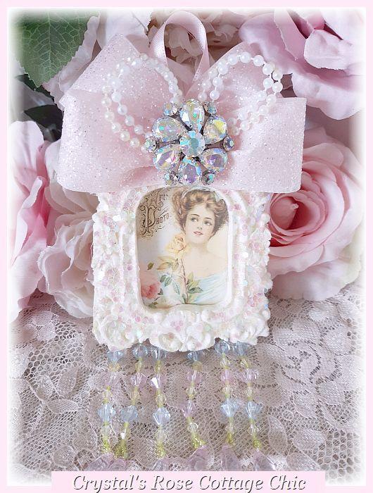 Iridescent Rhinestone Victorian Lady Ornament ...Free Shipping