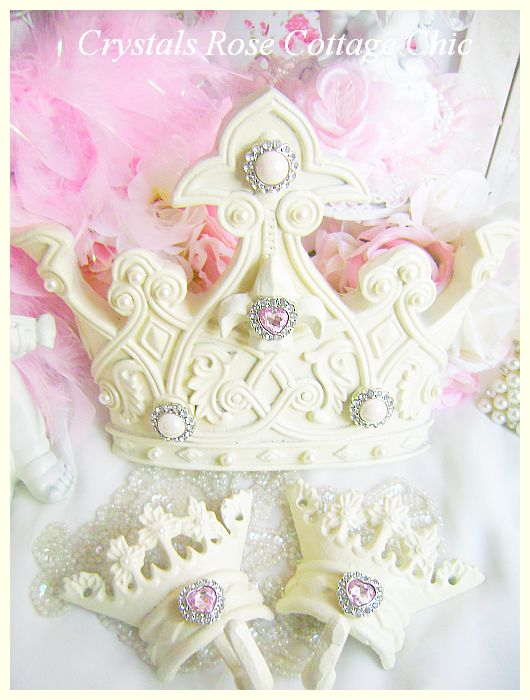 French Ivory Fleur De Lis Bed Crown Set Pink Rhinestone Hearts
