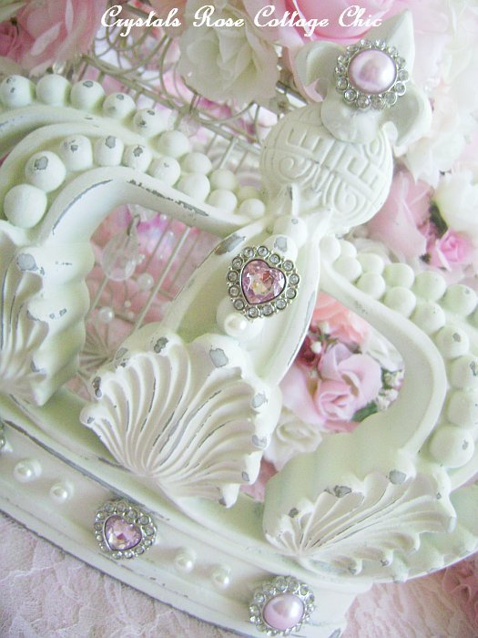 Shabby Cottage Chic Ivory Fleur de Lis Crown Pink Bling
