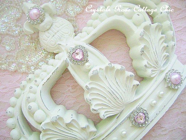 Shabby Cottage Chic Ivory Fleur de Lis Crown Pink Bling