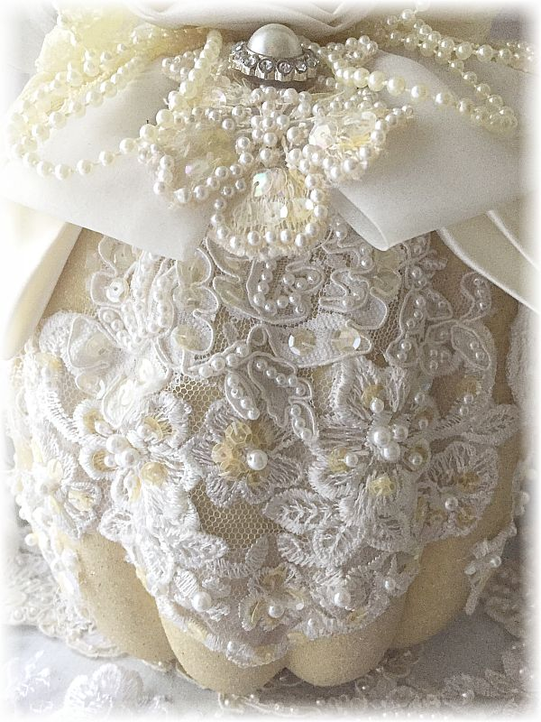 Beautiful Ivory Lace Covered Pumpkin