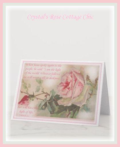 John 8  Verse 12 Vintage Pink Rose Card