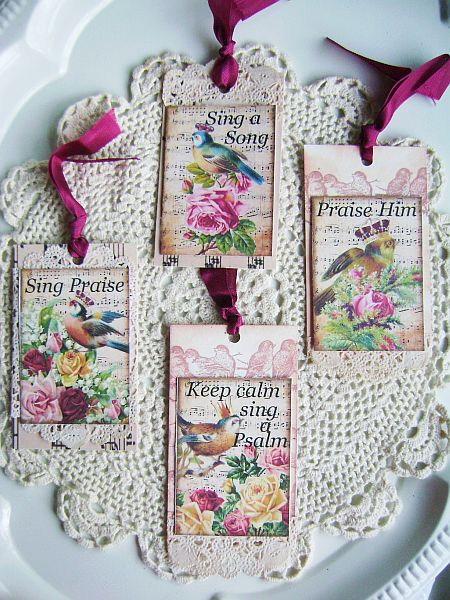 Sing Praise Vintage Royal Crown Bird and RosesTags
