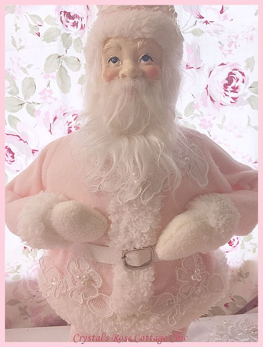 Shabby Chic Pink Santa with Lace