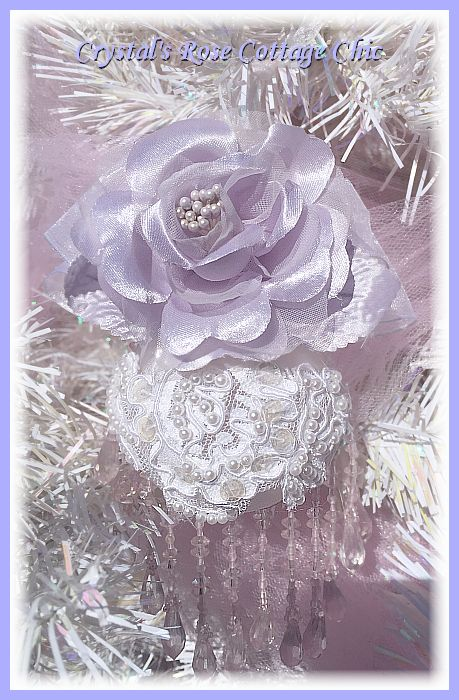 Lovely Lavender Rose and Lace Ornament
