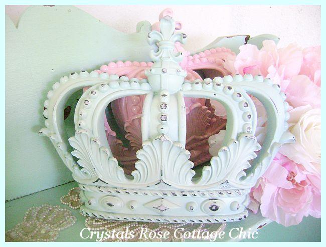 Shabby Chic Light Aqua Distressed Wall Crown