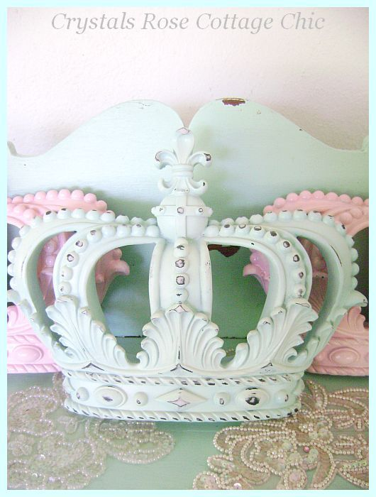 Shabby Chic Light Aqua Distressed Wall Crown