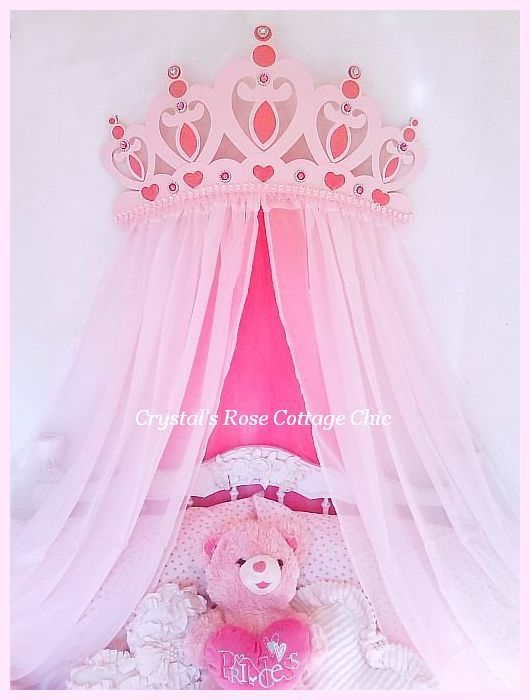 Glittered Pink Princess Heart Bed Crown Canopy with Bling & www.CrystalsRoseCottageChic.com ©Website Design by ...