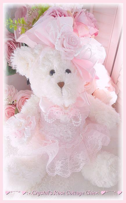 Light Ivory Pink Rose Bear...Free Shipping