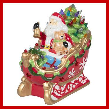Light Up Santa in Sleigh with Bear Christmas Decor