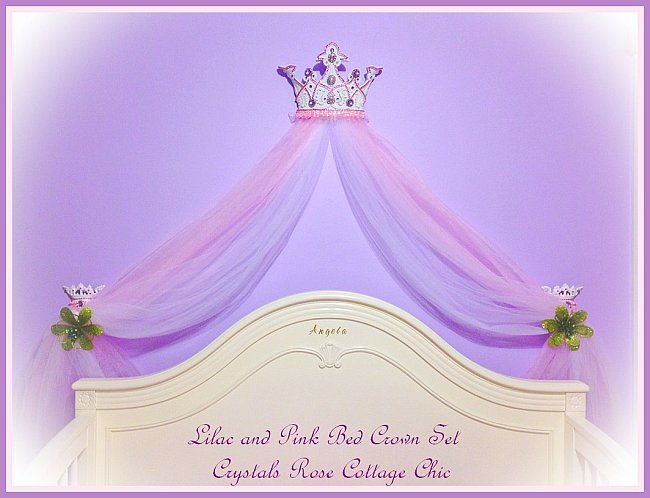 Lilac and Pink Bed Crown Canopy Girls Room Decor Nursery
