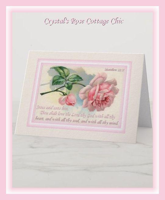 Matthew 22 Verse 37 Vintage Pink Rose Card