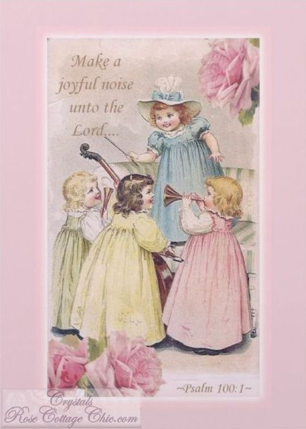 Vintage Girls and Pink Roses, Psalm 100 verse 1 Card