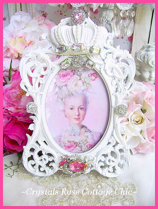 Rhinestone Bejeweled White Oval Shabby Crown Frame