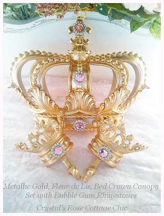 Pink Princess Gold Bed Crown Canopy Set