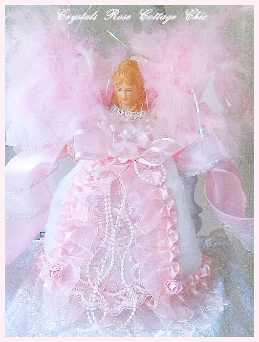 Mini Shabby Chic Pink Angel Tree Topper
