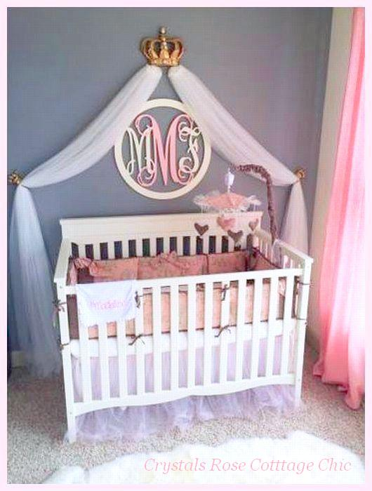 Nursery Bed Crown Canopy Gold Fleur de Lis