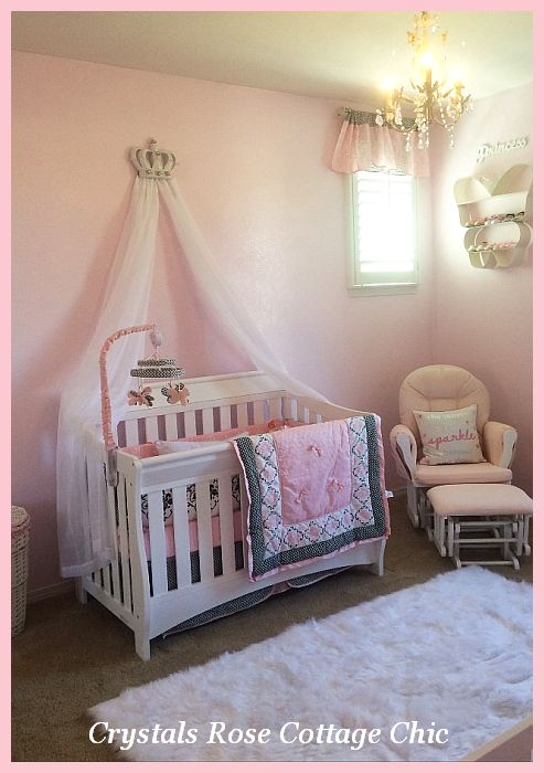 Crib bed crown canopy pink nursery