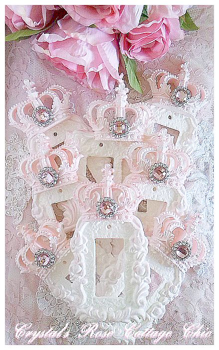 Distressed, Pink, Victorian Rose, Crown Rocker Wall Plate...Size Options