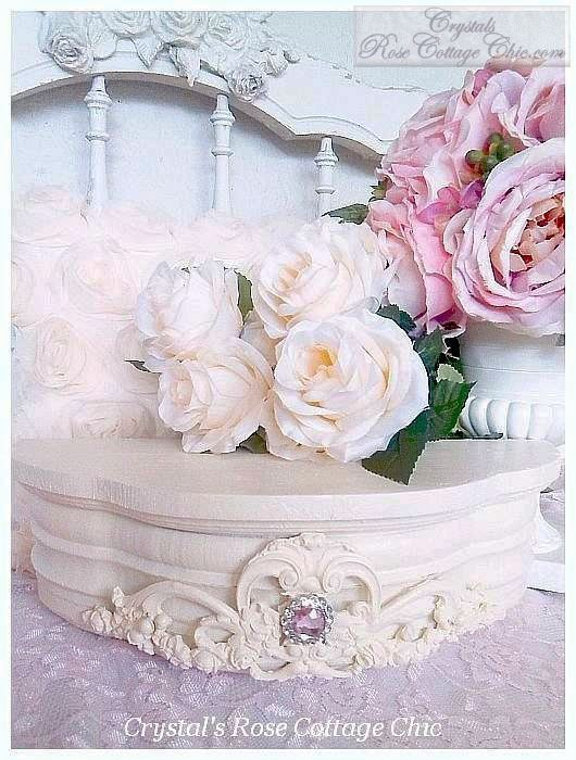 Ornate French Rose Shelf with Rhinestone...Color Options