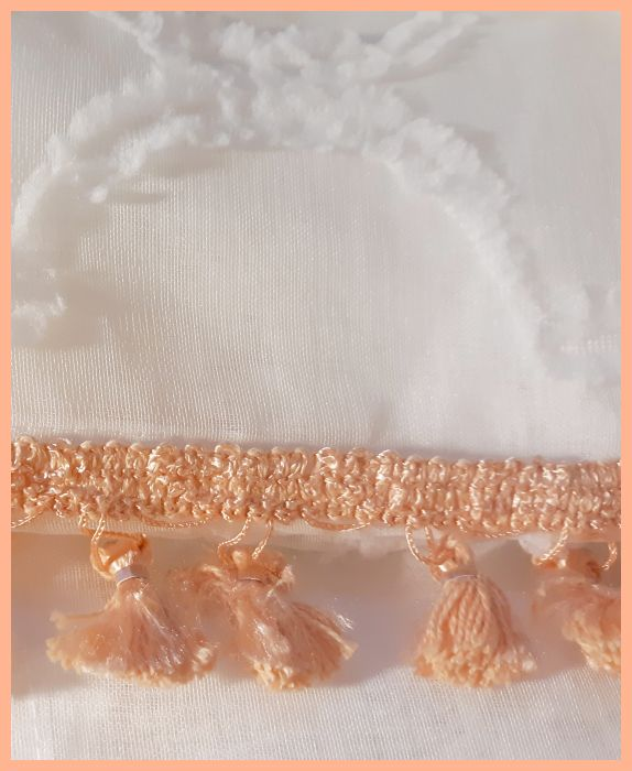 "96"" Peach Tassel Fringe White Sheer Canopy Panels"