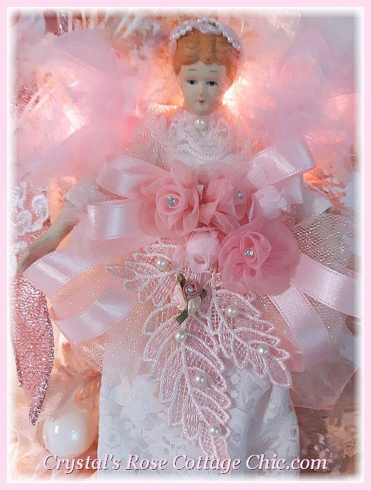 Shabby Chic Pink Angel Christmas Wreath
