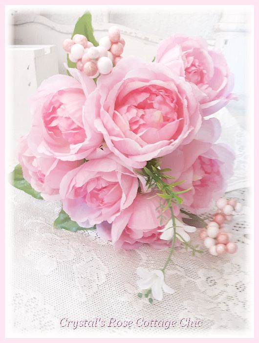 Lovely Light Pink Cabbage Rose Bouquet..Free Shipping