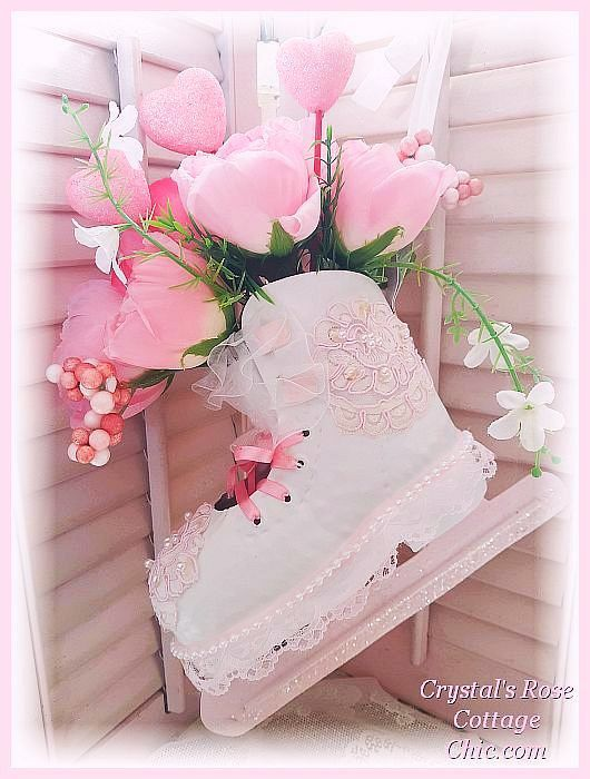 Pink Roses and Hearts Valentine's Day Ice Skate