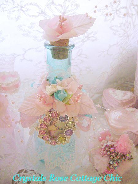 Romantic Aqua Glass Bejeweled Marie Antoinette Bottle