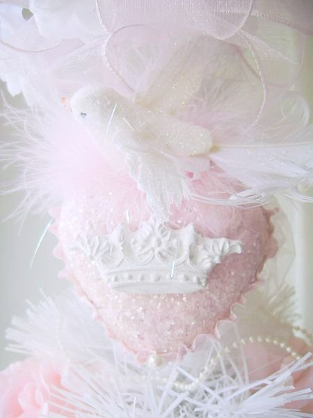 Shabby Pink Heart with Dove of Peace French Chic Crown Ornament