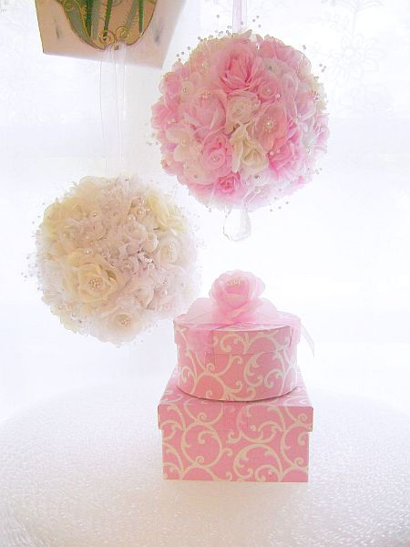 Pink and White Rose Pomander
