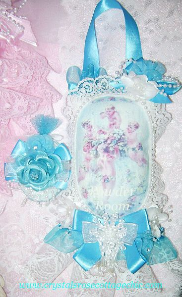 Tiffany Blue Powder Room Cherub Lace Sachet
