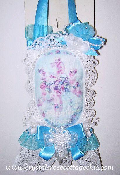 Tiffany Blue Powder Room Cherub Lace Sachet