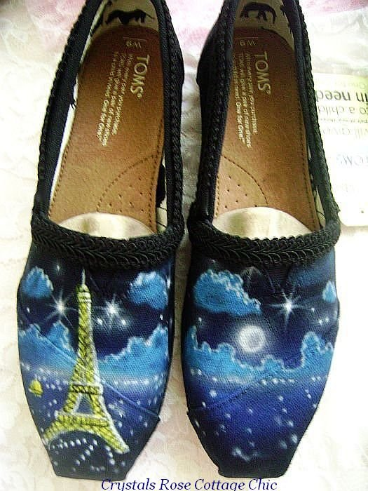 Paris Eiffel Tower Painted Toms Black Gimp Trim