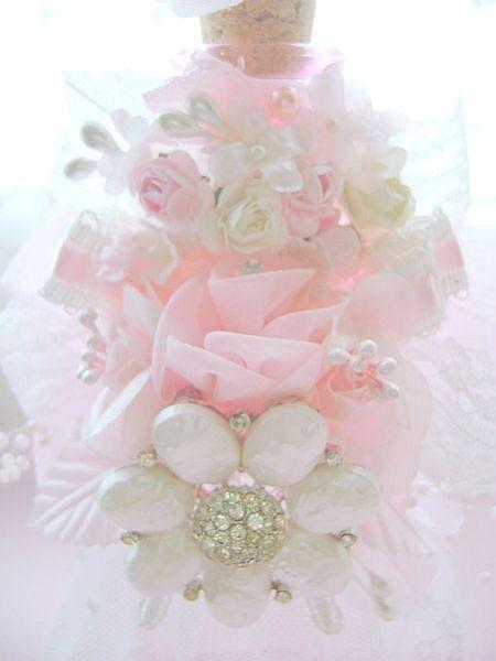 Romantic Pink Vintage Bejeweled Bottle
