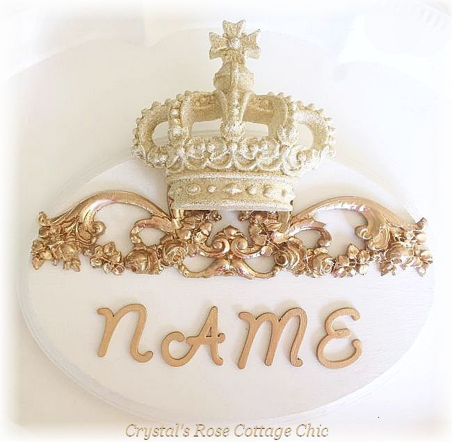 Gold Glitter Crown Floral Scroll Oval Name Plaque....Color Options