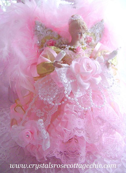 Glamorous Gold and Pink Angel Tree Topper