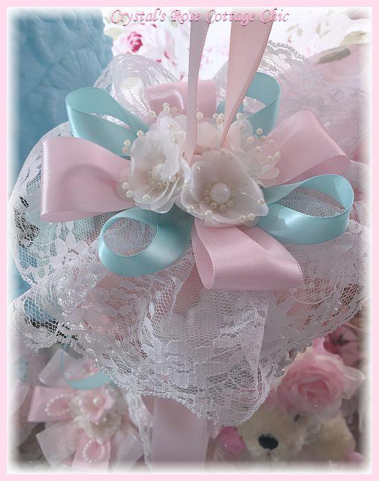 Shabby Pink Pumpkin with Ribbon & Lace Tassel
