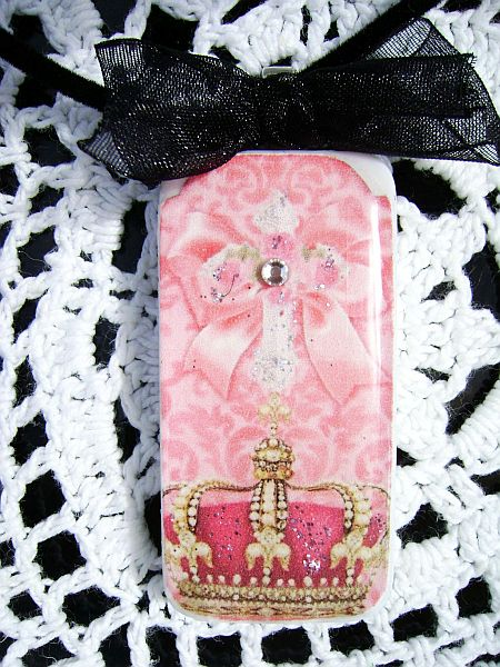 Royal Crown Pink Domino Pendant Necklace