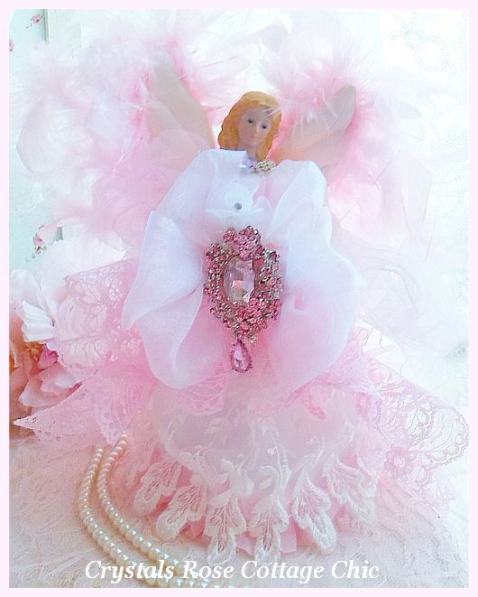 Pink Crystal Princess Angel Tree Topper