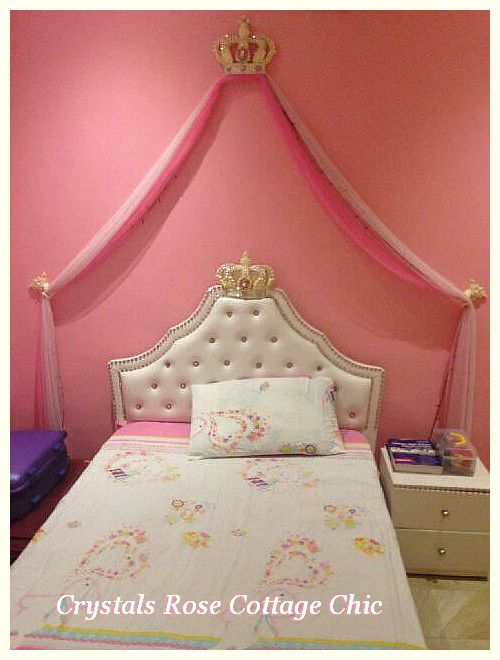 Pink Crystal Princes Bed Crown Headboard