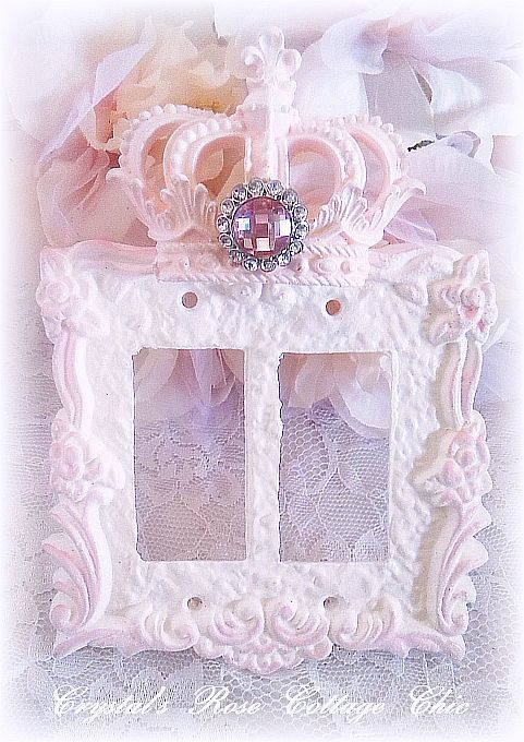 Distressed,Victorian Rose, Crown Double Rocker Wall Plate..Color Choices