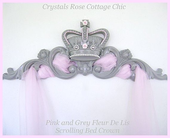 Pink and Grey Scrolling Bed Crown, Free Tulle...Color Choices