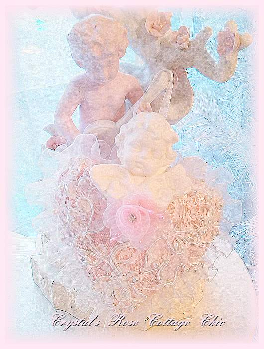 Shabby Pink Victorian Heart with Lace & Cherub