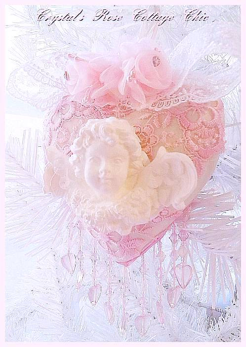 Shabby Pink Lace Cherub Heart