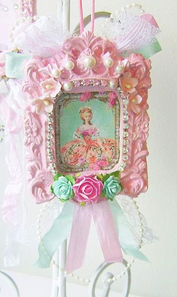 Light Aqua and Pink Marie Antoinette Framed Ornament