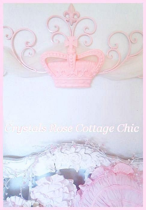 Pink Pediment / Bed Crown with Fleur de Lis motif