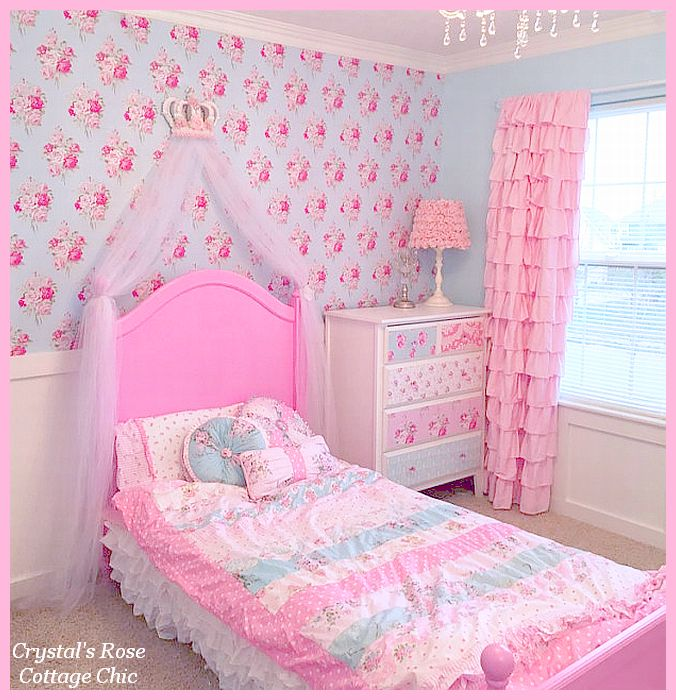 Pink Princess Bed Crown Canopy