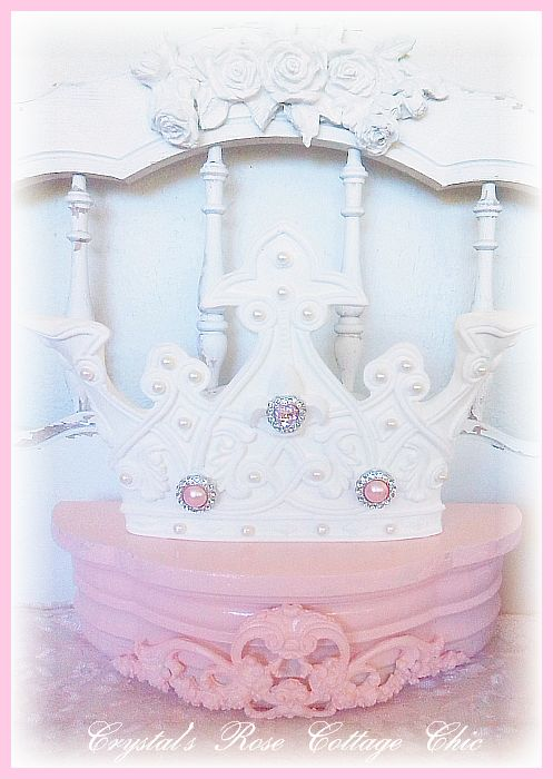 Pink Princess Bed Crown Canopy with Ornate Flourish..Color Choices