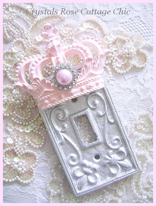 Pink Princess Crown Fleur de Lis Switch Plate Cover